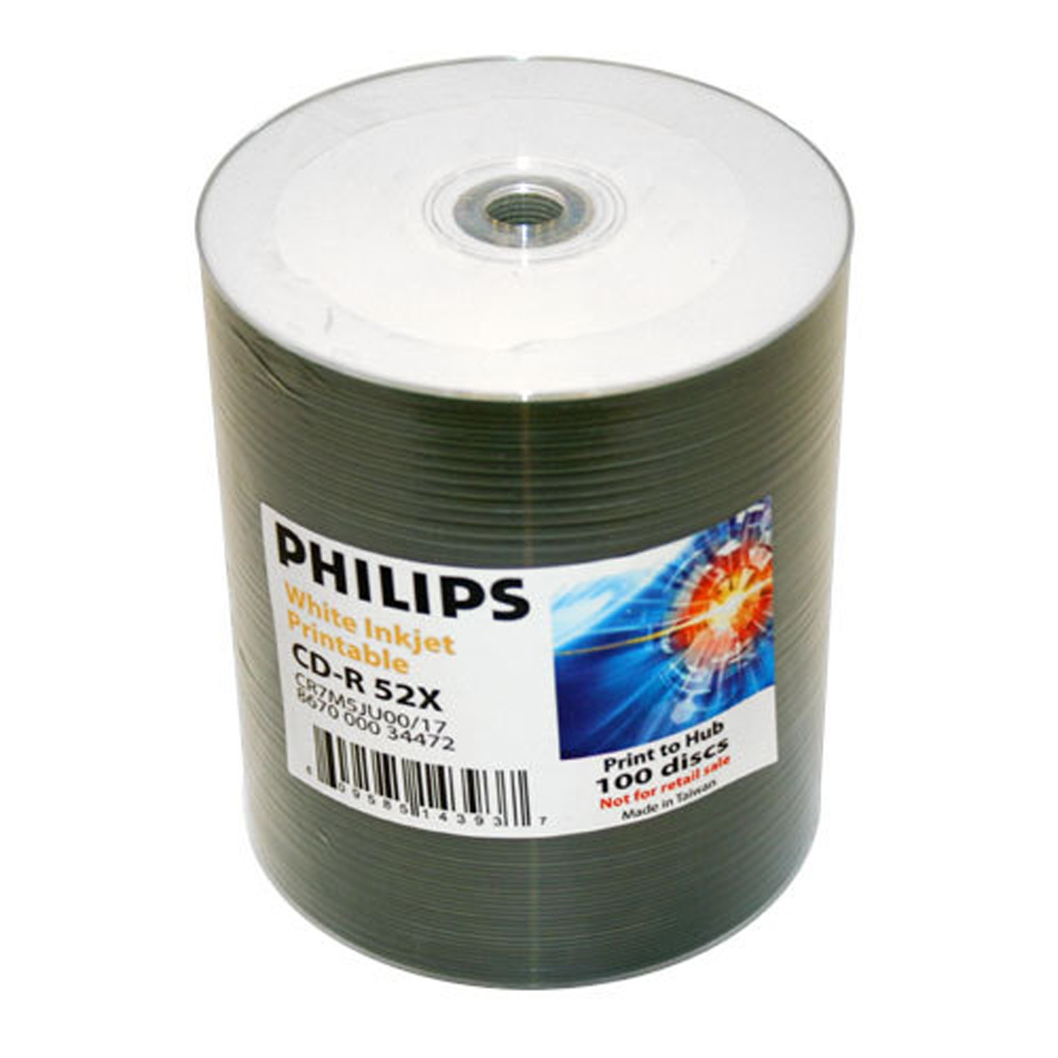 graphic relating to Blank Printable Cds identify Philips CD-R 52X White Hub Printable 100 pack - CD/DVD Blank