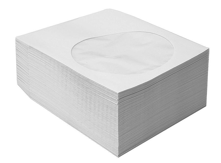CD/DVD White Paper Sleeve 100 pack